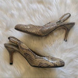 VANELI Snake Skin Heels with Real Leather Bottoms